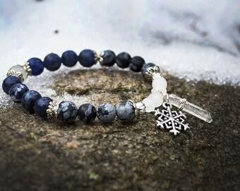Snow Queen - winter jewelry - healing crystals and stones - Aquarius bracelet