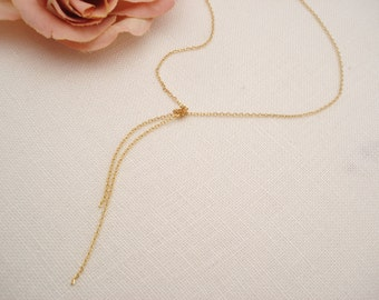 Gold Lariat necklace...Adjustable necklace, Simple delicate, long layered drop, sorority, best friend gift, wedding, bridesmaid gift