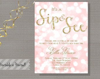 Bokeh Glitter Sip and See invitation, Gold glitter, pink, shower invitation, Printable - Genevieve Collection