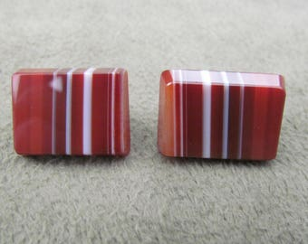 Vintage Striped Agate Square Cuff Links