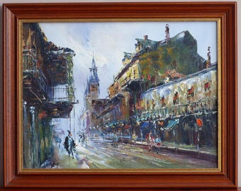 Acrylic painting. Acrylic on canvas. City landscape. Knife painting. Palette knife art.