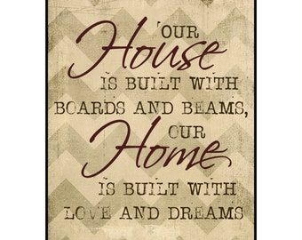 Our House Is Built With Boards And Beams Our Home Is Built With Love And Dreams Family Printed Wood Sign Wall Decor 12x15