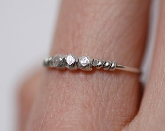 Minimalist Ring, Dainty Ring, Sterling Silver Wire Ring with Sterling Silver Faceted Beads