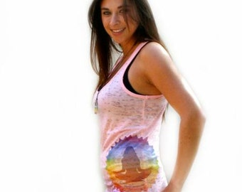 Pink Yoga Tank Top,, Meditation Chakra