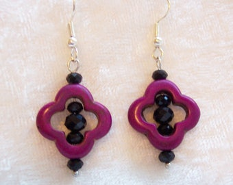 Purple Earrings, Black Crystal Earrings, Dyed Howlite Earrings, Flower Shape Earrings, Dangle Earrings, Clip ons Available