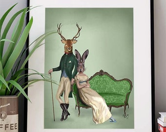 Deer Print - Deer & Mrs Rabbit Print - Deer wall art Deer poster stag art print deer decor Regency Style wall art  home decor gift for wife