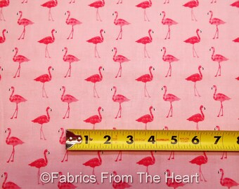 Pink Flamingos Birds Fruity Friends on Pink BY YARDS Makower UK Cotton Fabric