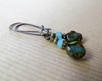 Blue Czech Glass Kidney Earwire Dangle Earrings