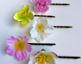 FREE Shipping 5 X cherry Blossom Hair Bobby Pins