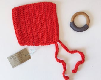 The Augie Bonnet // Pumpkin // Size 3-6 Months // Ready to Ship