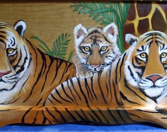 Custom Tiger Jungle Toy Chest done with Monogram or Name, kids furniture, art and decor, wooden toy box