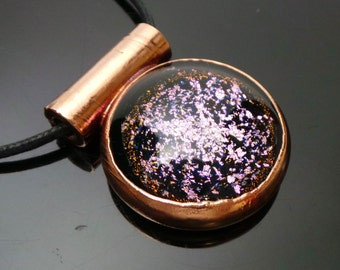 Golden Magenta Galaxy Copper Electroformed Dichroic Boroimage Pendant Onyx Black Glass - Lampworked pendant - 30mm