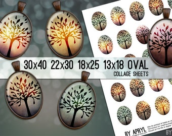Mystic Trees Digital Collage Sheet Oval 30x40 22x30 18x25 13x18 Oval Digital Collage Images for Glass Resin Pendants Cameo