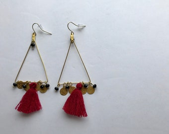 Triangle Brass + Red Wine Tassels + Charms Pendant Earrings