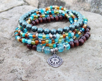 Tahitian pearl, Stacker Set, Beaded Stretch Bracelets with Sunflower Charm and Blue Pearls, colorful stretch bracelets