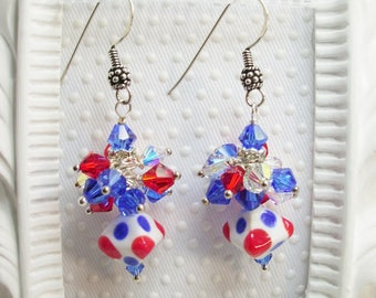 Red White and Blue SRA Lampwork Bead SS Earrings, Bali lampwork jewelry, Lampwork earrings, Patriotic Earrings, USA earrings, christmas gift