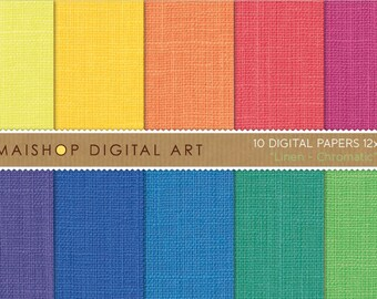 Rainbow Digital Paper Linen 'Chromatic' Scrapbook Paper Pack Printable Instant Download for Scrapbook, Paper Crafts, Greeting Cards...