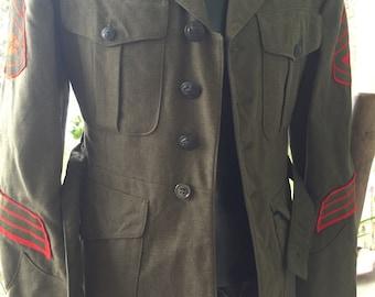 Vintage WWII army dark green coat