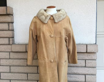 Vintage 50s 60s Blonde Suede Leather and Fur Coat Three Quarter Sleeves Size Medium-Large