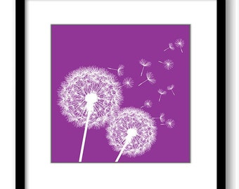 INSTANT DOWNLOAD Purple Mauve White Dandelion Printable Art Print Wall Decor Bathroom Bedroom Custom Modern Miminimalist Flower Nursery
