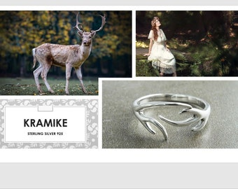 Deer Antler Ring, Sterling Silver Ring, Open Ring, Dainty Ring, Adjustable Ring, Band ring, Wrap ring, Boho ring, Cross Ring, Woman Gift