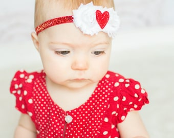 Sweetheart Headband - Red White Glitter - Baby Headband -  Glitter Heart Felt - CHD - Preemie Newborn Infant Baby Toddler Girls Adult