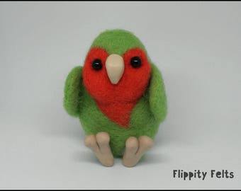 Adorable kawaii needle felt lovebird with a heart