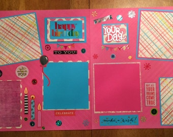 "2 Page 12x12 Scrapbook Pages-""Happy Birthday"""