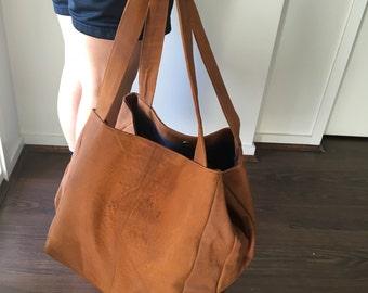 Super Large leather tote bag,soft shoulder leather tote,perfect for travelling,large leather tote.Ideal Nappy or diaper, baby bag.Large tote