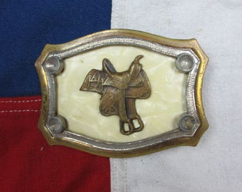 Vintage 1970's Saddle Belt Buckle Cow Boy Western Wear Horse Riding Equestrian Stirrups Gold Tone Fake Mother of Pearl