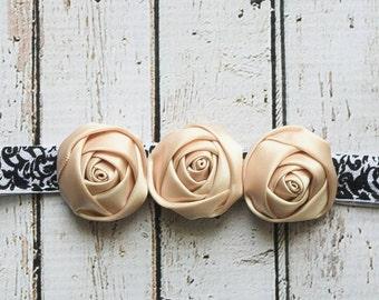 Cream Rose Headband, Newborn Headband, Adult Headband, Photo Prop Vintage Headband