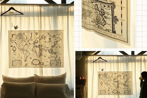 World map linen fabric world map curtain panel linen world map linen fabric world map curtain panel linen material hanging tapestry 75 x 145cm wholesale 50 or 100 panels gumiabroncs Images