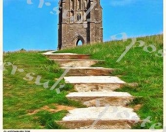 Vintage Style Railway Poster Glastonbury Tor A3/A2 Print