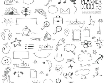 Planner Doodles: Stamps - Photoshop Brushes, PNG files - INSTANT DOWNLOAD