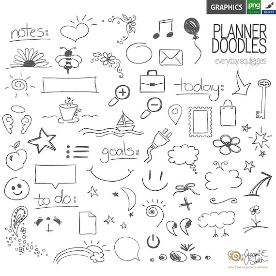 planner doodles  stamps photoshop brushes png files
