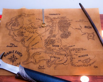 Middle Earth Map on Suede