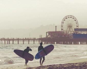 Santa Monica Surfers Sunset Surfboard Beach Pier Ferris Wheel California Water Ocean Waves Fine Art Photograph Print Photography