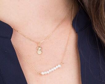 Tiny Pineapple Charm Necklace, Tiny 14K Gold Filled Pineapple Necklace, Bridesmaid Necklace, Gift for Her, Everyday Wear, Petite Necklace