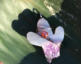 Purple amethyst cactus crystal pendant wireworapped