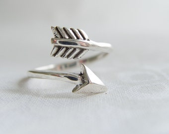 Sterling Silver Arrow Ring, Arrow Ring, Sterling Silver Rings For Women, Open Wrap Arrow Ring, Silver Wrap Ring, Bypass Arrow Ring, Boho