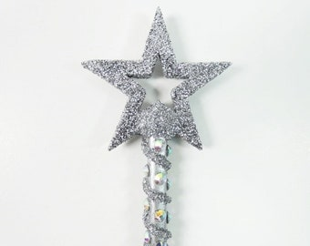 Silver Fairy Godmother Wand Silver Star Magic Wand Wizard Wand Fairy Wand Witches Wand Steampunk Wand Cosplay Party Wand