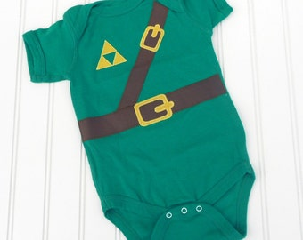 READY TO SHIP Great Baby Shower Gift Inspired by Legend of Zelda, Link sewn cotton applique bodysuit