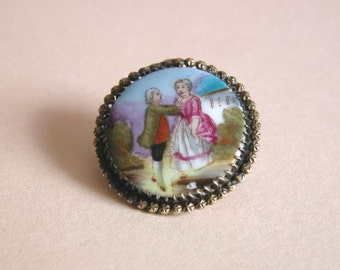 Antique Victorian Hand Painted Miniature Porcelain Brooch