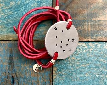 Aquarius Bracelet / Constellation Bracelet / Zodiac Bracelet/ Personalized Jewelry / Zodiac Jewelry/ Leather Wrap Bracelet/ Aquarius Jewelry