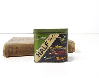 Vintage Buckingham Half and Half Tobacco Tin Box / Cigar Smoking Tobacco Advertising Tin / Rustic Decor