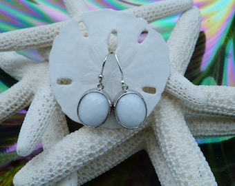 Beautiful Opaque White faceted Oval Glass Silver Earrings