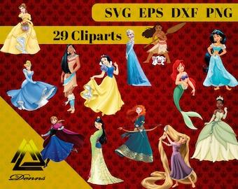 Princess Clipart –29 (Svg, Eps, Png, Dxf Files) 300 PPI, Vectorial Images, Pocahontas , Mulan , Cinderela, Belle, Snow White, Ariel , Elsa