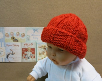 Ribbed Baby Winter Beanie, Chunky Wool Hat, Photo Prop