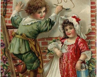 Vintage Valentine Postcard Kisses Embossed 1910 Salke From Your Dear Boy