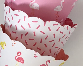 Flamingo Cupcake Wrappers, Fiesta, Pool, Summer Party